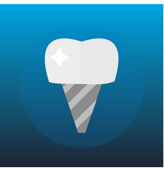 Flat health care dentist tooth implant research vector