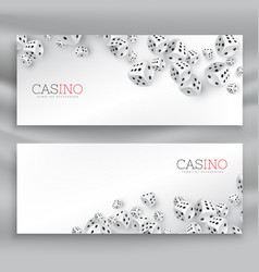 floating casino dice banners set vector image