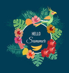 floral summer background with tropical leaves vector image