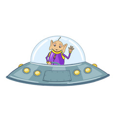funny alien on a flying saucer vector image