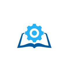 Gear book logo icon design vector