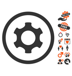 Gear icon with love bonus vector