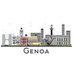 genoa italy city skyline with color buildings vector image