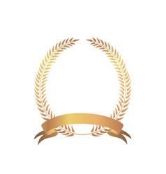 Golden award frame winner sign laurel wreath with vector
