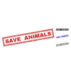 Grunge save animals textured rectangle stamps vector