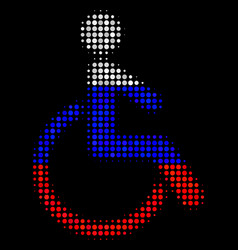 Halftone russian disabled person icon vector