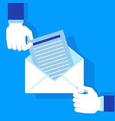hands holding envelope blue vector image