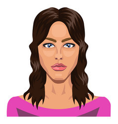 handsome girl with blue eyes and long hair on vector image