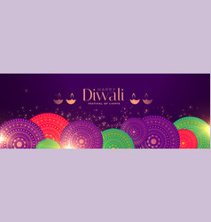 Happy diwali occasion festival banner with indian vector