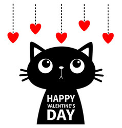Happy valentines day cat looking at red heart set vector
