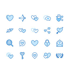Heart flat line icons set love dating site vector
