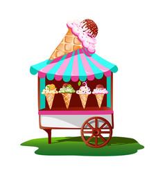 Ice cream cart with tasty decor vector