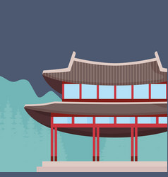 Iconic asian palace design vector