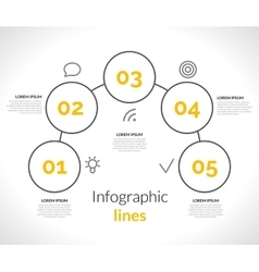 Infographic with circles pointers 5 steps vector image