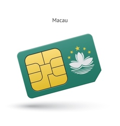 Macau mobile phone sim card with flag vector