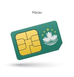 Macau mobile phone sim card with flag vector image