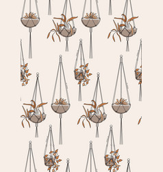 macrame home plant hanger seamless pattern vector image