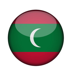 Maldives flag in glossy round button of icon vector