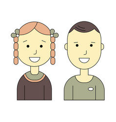 Male and female flat icons vector