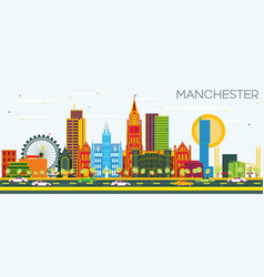 manchester skyline with color buildings and blue vector image
