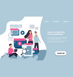 marketing landing page modern seo and business vector image
