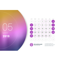 may 2019 desk calendar for 2019 year design print vector image