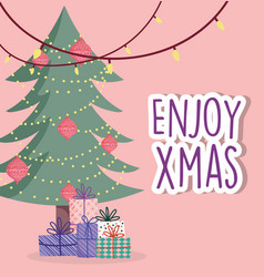 merry christmas celebration hang lights tree balls vector image