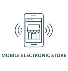mobile electronic store line icon linear vector image