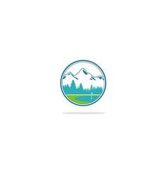 Mountain nature golf yard logo vector