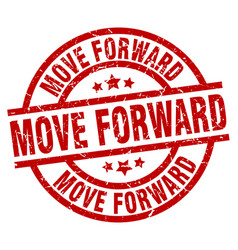 Move forward round red grunge stamp vector