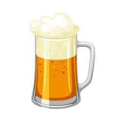 Mug with light beer and froth vector