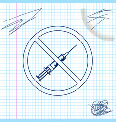 no vaccine line sketch icon isolated on white vector image