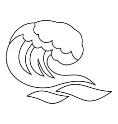 Ocean or sea wave icon outline style vector image