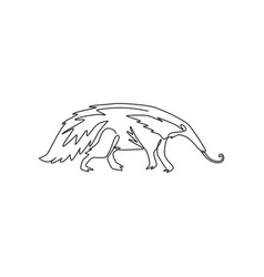 One single line drawing big anteater for logo vector