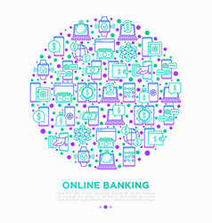 online banking concept in circle vector image