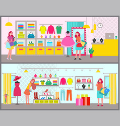 Pair of colorful banners with cute clothing stores vector