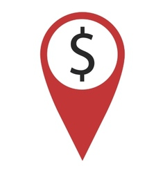 Red geo pin with dollar vector