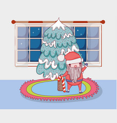 santa claus with pine tree in the house vector image