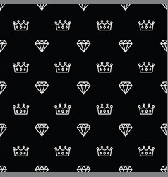 Seamless pattern king and queen crown and diamond vector