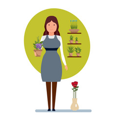 Seller in flower shop holds in hands pot flower vector