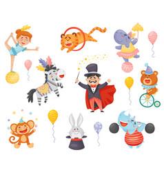 Set cartoon performing circus performers vector