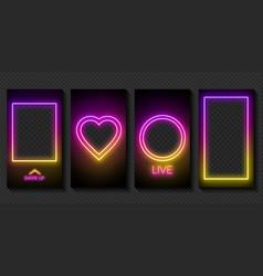 Set neon instagram stories on a dark background vector