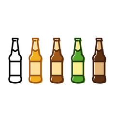set of a beer bottle icon set vector image