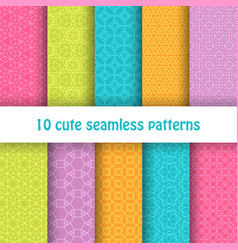 Set of cute bright seamless patterns abstract vector