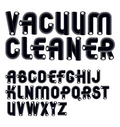 Set trendy rounded upper case alphabet letters vector