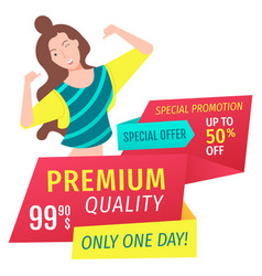Shopping promotion big discount postcard vector