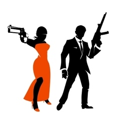 Silhouettes of spy couple characters vector image