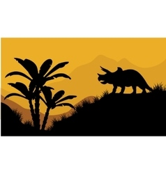 Single triceratops in fields scenery vector