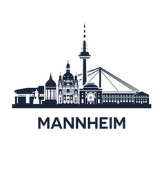 skyline emblem of mannheim city in the vector image