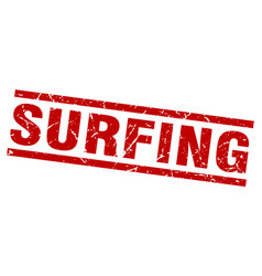 square grunge red surfing stamp vector image